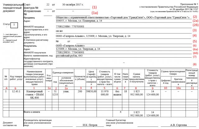 Выставление электронного УПД с функцией счета-фактуры и документа об отгрузке товаров и оказании услуг в